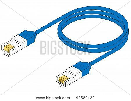 Blue patch cord isolated over white background