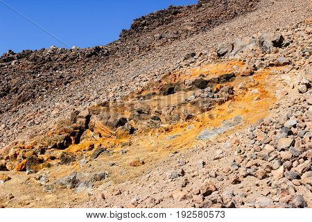 Volcano teide in tenerife island is still in activity, sulfur deposition on the rock