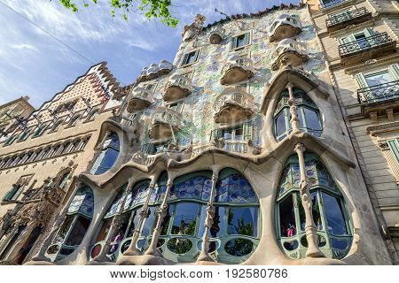 BARCELONA SPAIN - APRIL 20: House Casa Batllo designed by Antoni Gaudi on April 20 2017 in Barcelona