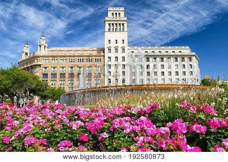 BARCELONA SPAIN - APRIL 20: Fountain at Placa de Catalunya on April 20 2017 in Barcelona