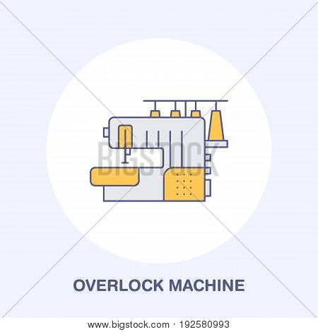 Sewing machine overlock flat line icon, logo. Vector colored illustration of tailor supplies for hand made shop or dressmaking service. poster