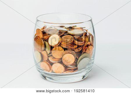 Thai Baht Coins Money In Glass Bottles