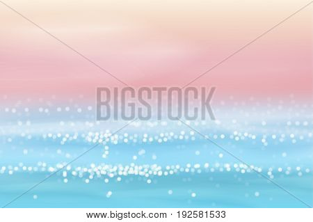 Pink and blue seascape in abstract style. Blurred and sparking sea waves. Perfect for travel or sea vacation backgrounds. Vector illustration