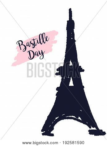 Bastille day  tower Eiffel in 14th July
