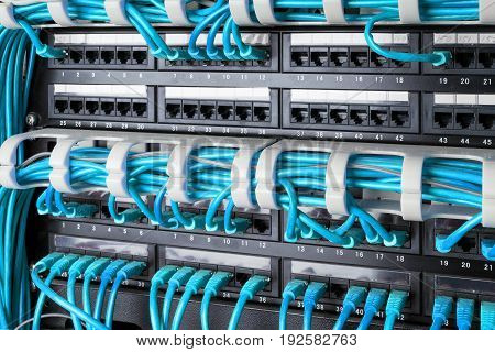 Network panel switch and internet cable in data center. Network switch and blue ethernet cables Data Center Concept.