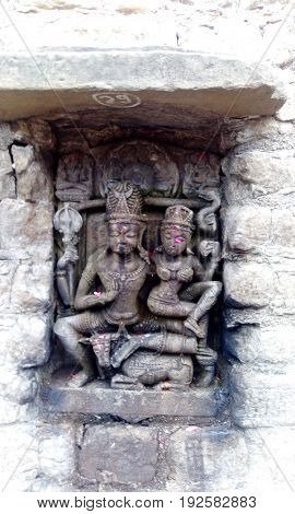 Ancient Indian architecture - sculpture of Shiva and Parvati.