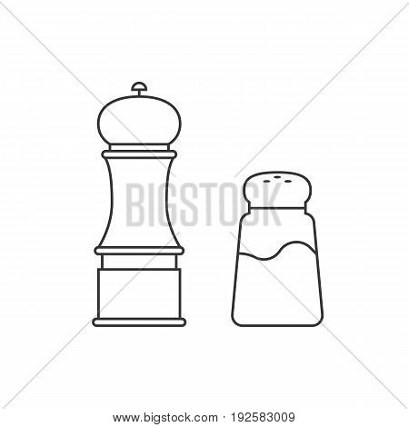 grinder and shaker for salt, pepper, outline icon