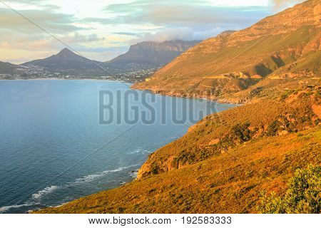 The Lookout Point at sunset in Hout Bay. The famous and scenic Chapman's Peak Drive in Cape Town, South Africa.