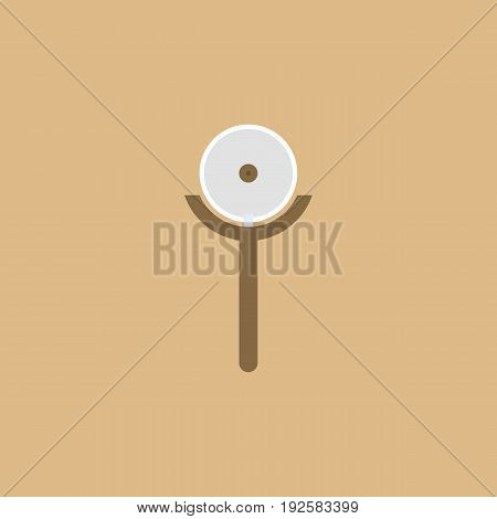 pizza cutter icon in flat design with brown background
