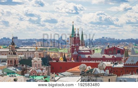 Moscow. View from above of the Kremlin and the cathedrals