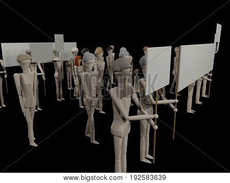 People go with banners to a demonstration (3D rendering with wooden dolls)