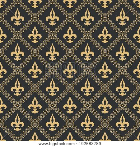 Seamless pattern fleur de lis.Gold texture on a black background.Flower classical pattern.Medieval ornament.Vector illustration.