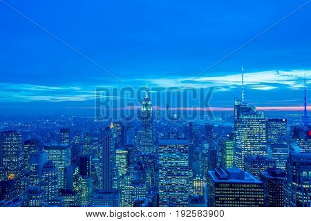 New York - DECEMBER 20, 2013: View of Lower Manhattan on Decembe