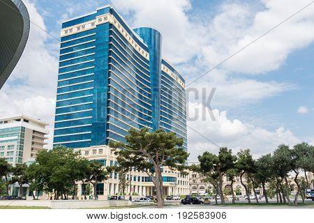 Baku - JULY 18, 2015: Hilton Hotel on July 18 in Baku, Azerbaija