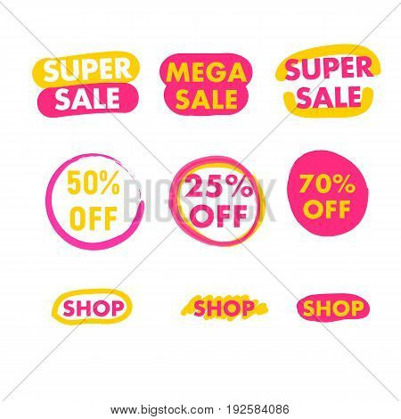 Super or mega sale button shop now and 50 20 70 off. Elements for website