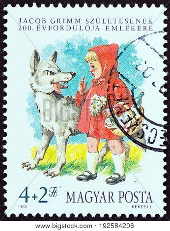 HUNGARY - CIRCA 1985: A stamp printed in Hungary issued for the Birth Centenary of Jacob Grimm (folklorist) shows Little Red Riding Hood, circa 1985.
