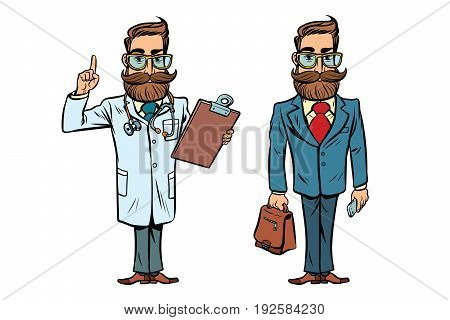 Hipster doctor and businessman. Comic cartoon style pop art retro vector illustration