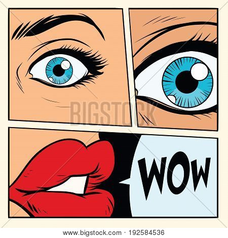 Comic storyboard woman wow surprised. Comic cartoon style pop art retro vector illustration