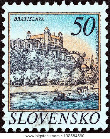 SLOVAKIA - CIRCA 1993: A stamp printed in Slovakia shows Bratislava, circa 1993.