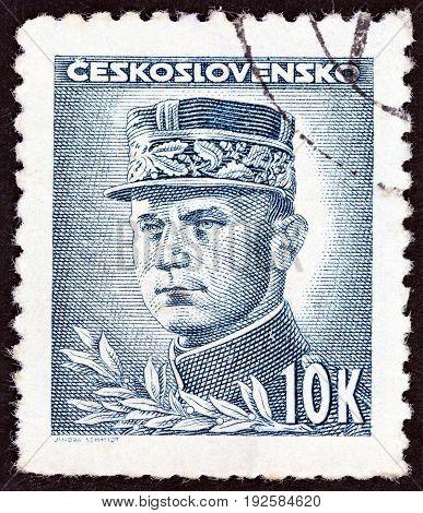 CZECHOSLOVAKIA - CIRCA 1945: A stamp printed in Czechoslovakia shows General Milan Rastislav Stefanik, circa 1945.