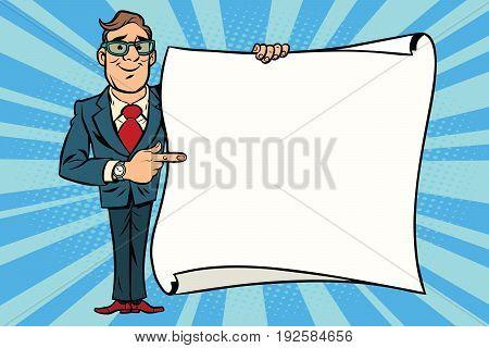 Joyful businessman showing on the mockup copy space poster. Comic cartoon style pop art retro vector illustration