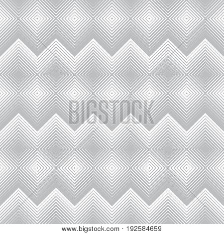 Vector seamless pattern. Stylish modern texture with constant repetition rhombuses diamonds zigzag thin lines. Geometrical background. Contemporary design.