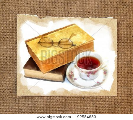 glasses for reading lie on old books in a shabby rumpled cover next to a cup of tea watercolor still life on paper with a torn edge in the passepartout