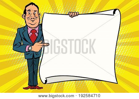 Smiling businessman boss showing on the mockup copy space poster. Comic cartoon style pop art retro vector illustration
