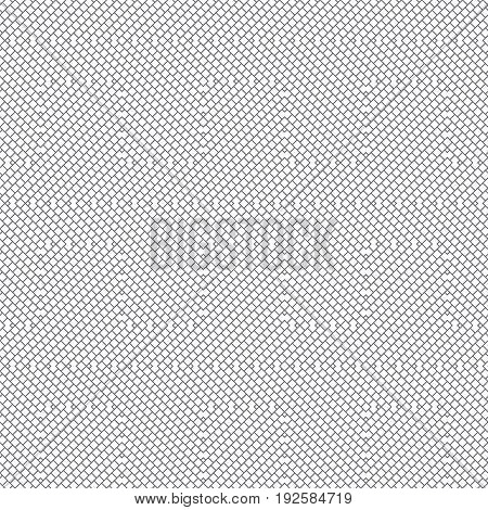 Vector seamless pattern. Stylish geometric texture. Modern linear ornament. Regularly repeating thin broken line grids. Small outline rhombuses form tangled intricate labyrinth maze.
