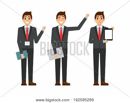 funny cartoon guy in the suit, gesturing. Set of businessman characters point and showing at tablet computer. Happy youg people smiling. Flat design