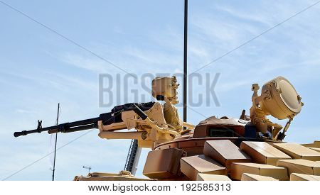 Machine gun in a war car for a destruction