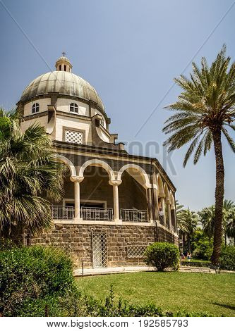 SEA OF GALILEE, ISRAEL - MAY 15: Church of Mount of Beatitudes with marble colonnade near Sea of Galilee in Israel on May 15, 2017