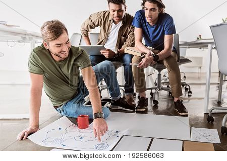 Internet works in such way. Portrait of cheerful young man pointing finger at picture while explaining his idea to colleagues. He is sitting on floor and laughing
