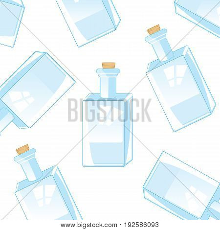 Glass bottles with gap on white background is insulated