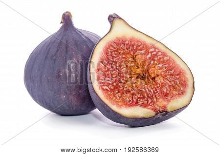 Juicy ripe figs over the white background