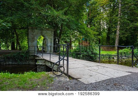 Footbridge at entrance to forest park at Cong Co. Mayo