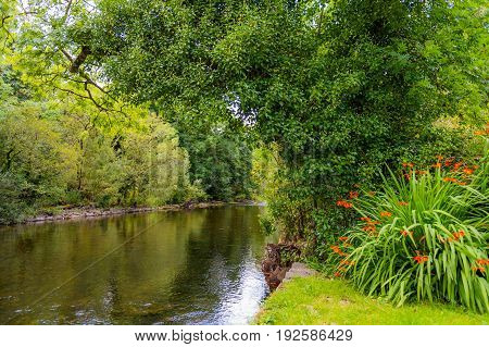 View of the river Cong from the bank of the river in the village of Cong Co. Mayo.