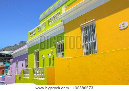 Cape Town, South Africa - January 11, 2014: The colorful houses of Bo-Kaap, famous Malay Quarter is the Muslim Malay village in Cape Town, one of the major tourist attractions in Cape Town.