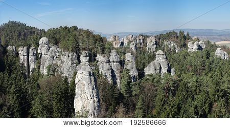 Panorama of the rock town in the Bohemian Paradise, Czech republic