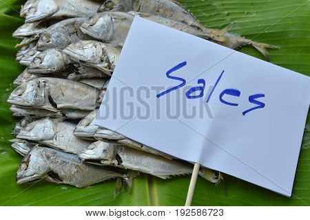mackerel on fresh banana leaf for sale in market