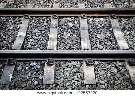 Close Up Of Railway With Sleeper And Rail
