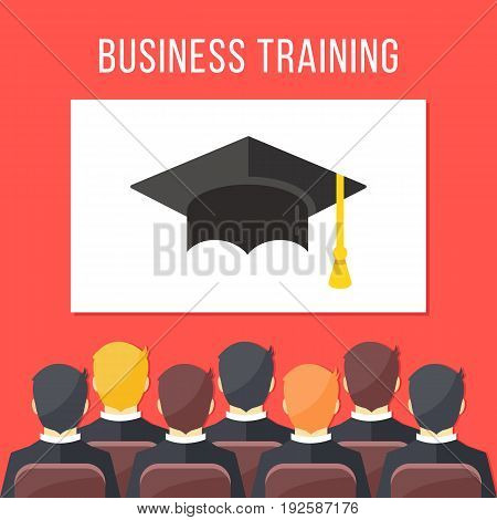 Business training. Businessmen sitting in conference hall, white board with mortarboard. Business education concept. Flat design graphic for websites, web banners, infographics. Vector illustration