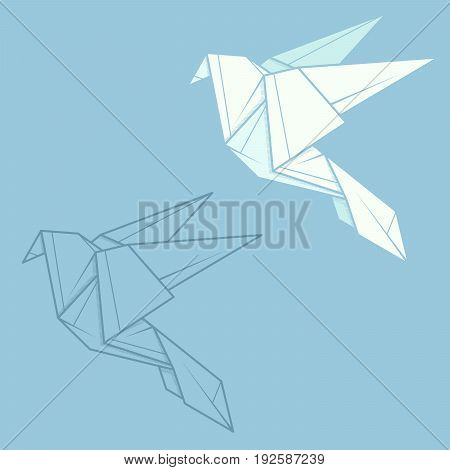 Set vector simple illustration paper origami and contour drawing of dove.