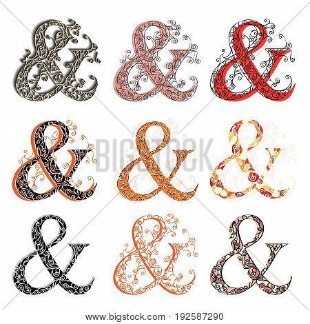 Set of variations fishnet (lace) sign figures & (ampersand et).