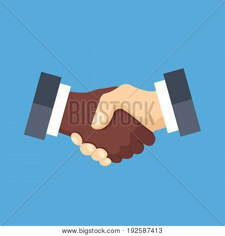 Handshake icon. Black and white shaking hands. Partnership, agreement, friendship, international business concepts. Modern flat design graphic elements. Vector illustration isolated on blue background