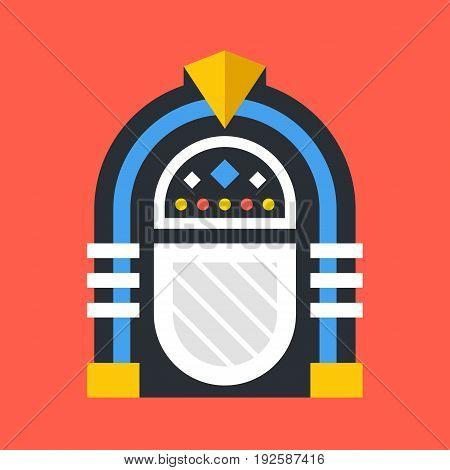 Vector jukebox icon. Retro jukebox isolated on red background. Flat design vector illustration