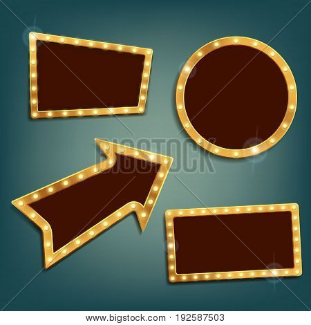 Set of vintage retro frames and banners. Stock Vector Graphics.