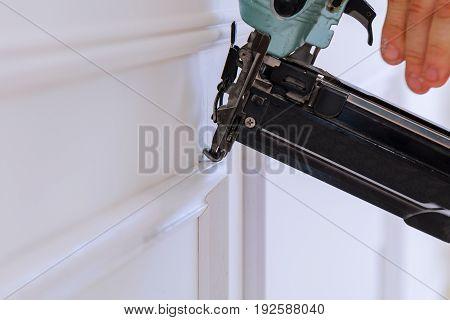 Gauge Finish Nailer Man Nailed Slats Custom House Building Contractor