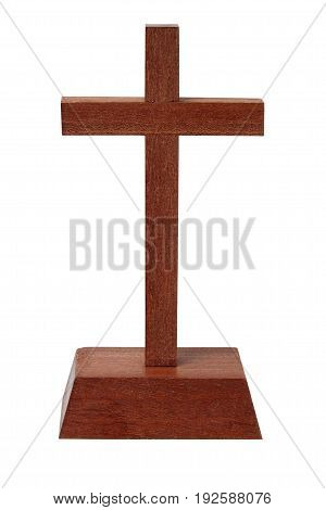 Brown wooden cross isolated on white background