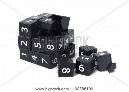 Broken black sudoku cube isolated on white background